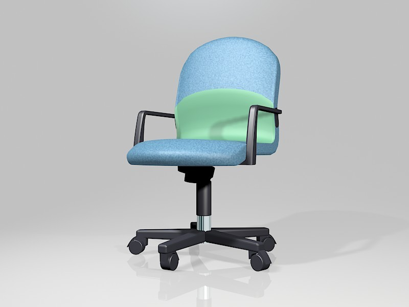 Blue Desk Chair with Wheels 3d rendering