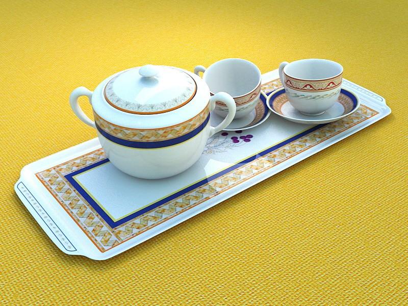 Cupset Tea Set 3d rendering