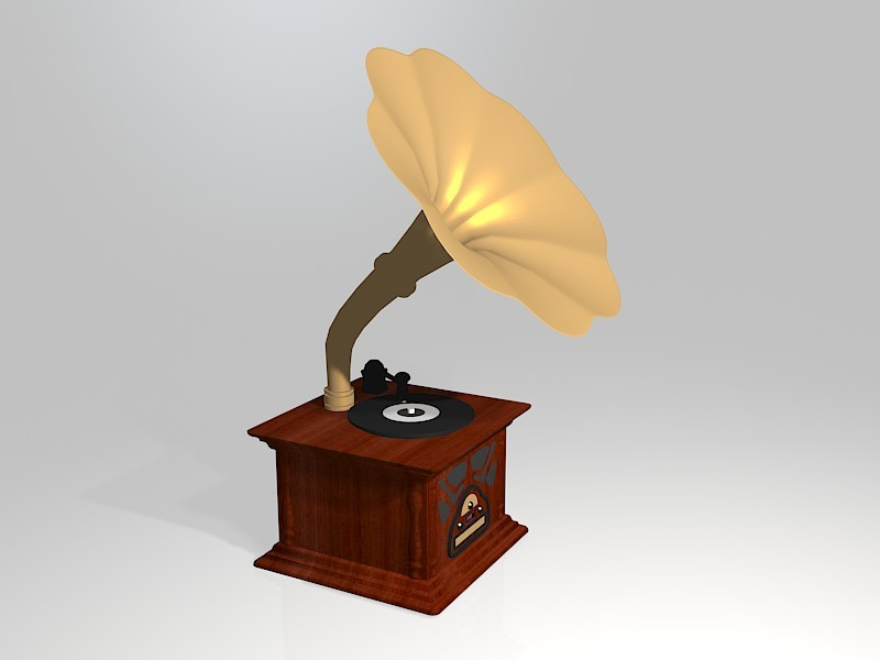 Antique Gramophone Record Player 3d rendering