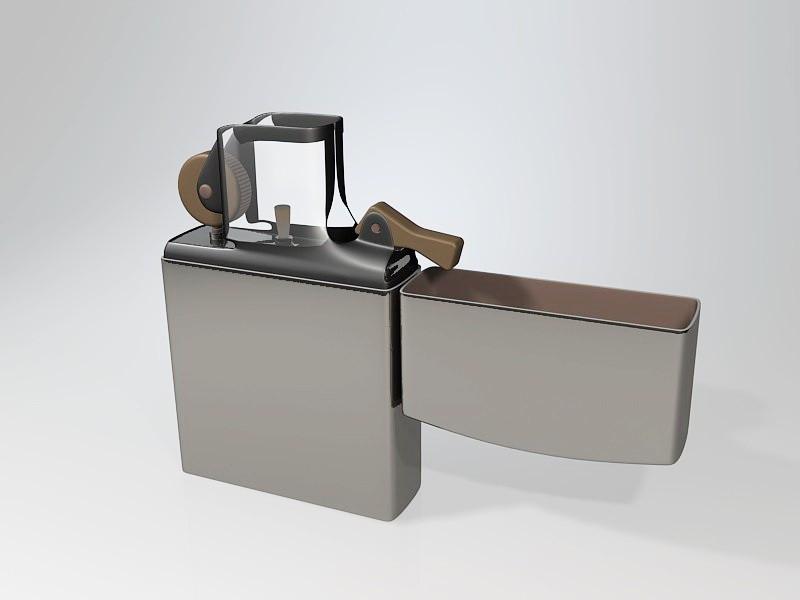 Classic Zippo Lighter 3d rendering