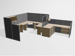 Office Furniture Cubicle Workstations 3d model preview