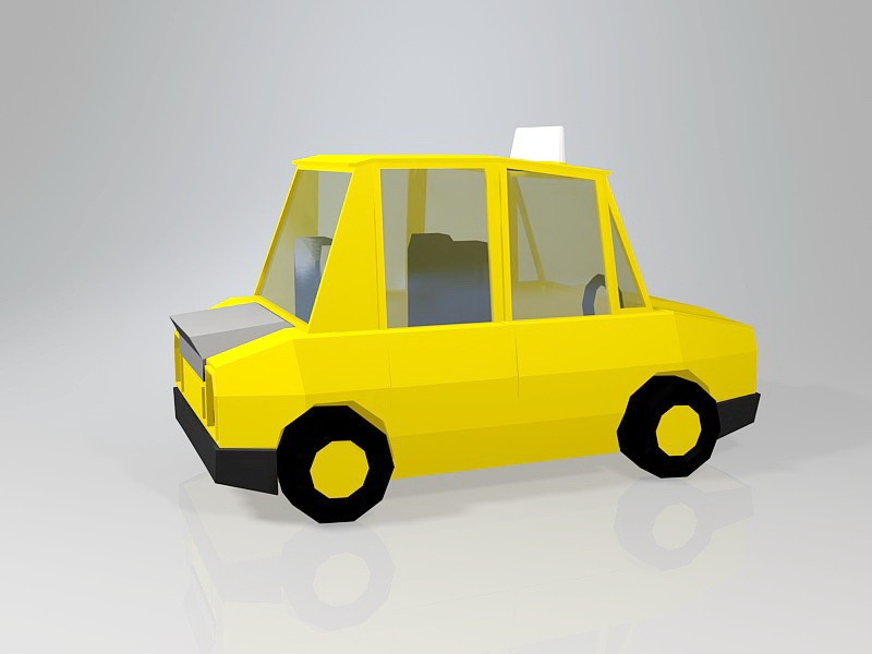 Low Poly Taxi Car 3d rendering