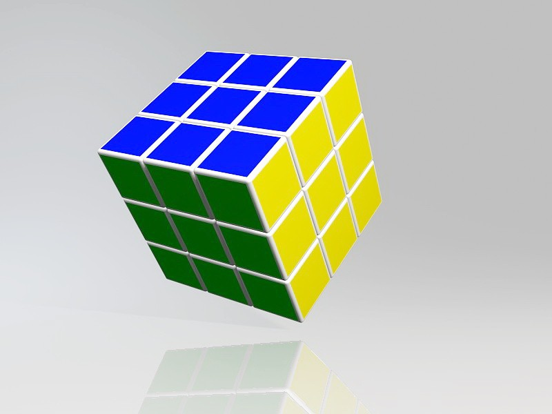 Color Cube Puzzle 3d rendering