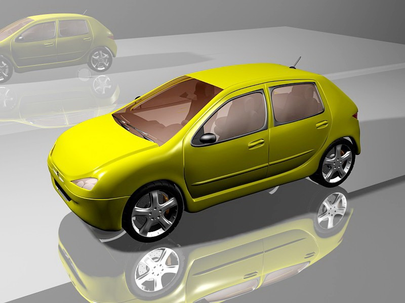 Yellow Peugeot Car Hatchback 3d rendering