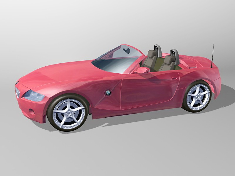 BMW Z4 Red Convertible 3d rendering