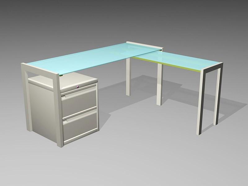 Modern Glass Office Desk 3d rendering