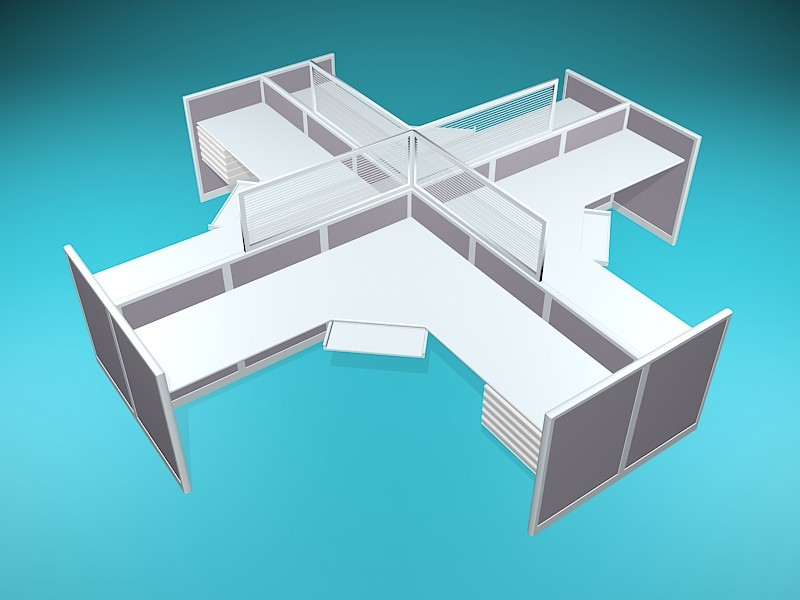 4-Person Cluster Cubicle Workstation 3d rendering