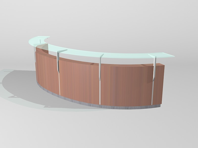 Curved Reception Counter 3d rendering
