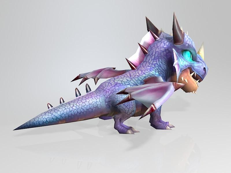 Little Cute Cartoon Dragon 3d rendering