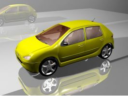 Yellow Peugeot Car Hatchback 3d preview