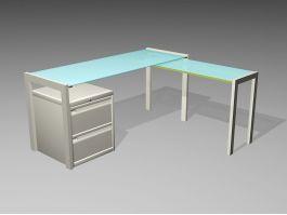 Modern Glass Office Desk 3d preview