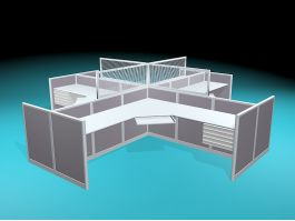 4-Person Cluster Cubicle Workstation 3d model preview