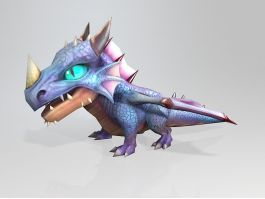 Little Cute Cartoon Dragon 3d preview