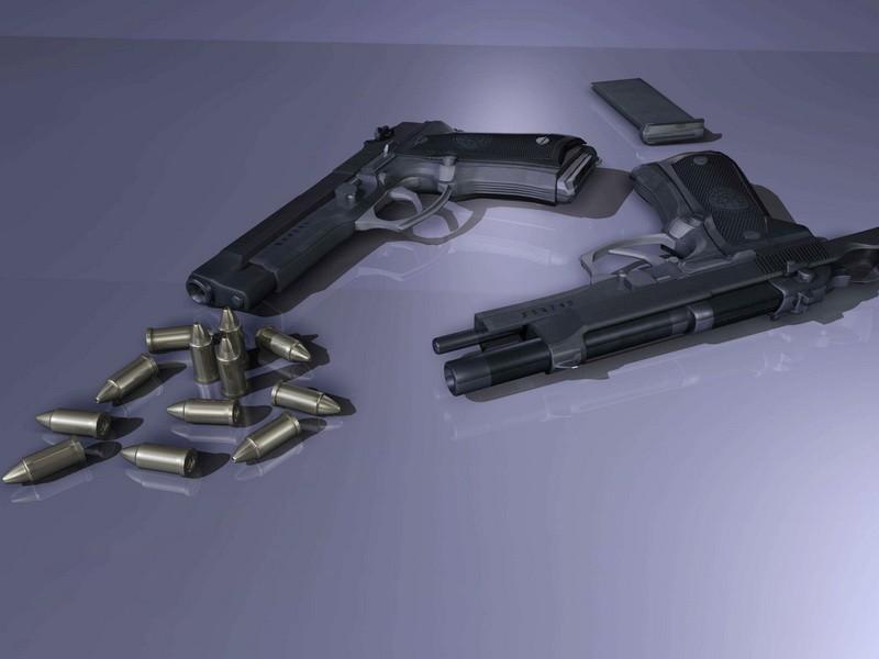Beretta M9 Pistol & Ammo 3d rendering