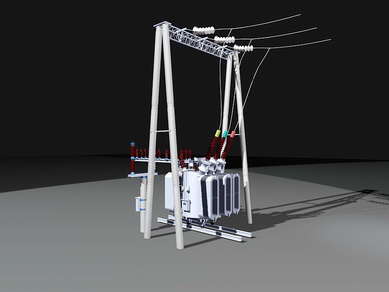 High-voltage Transformer 3d rendering