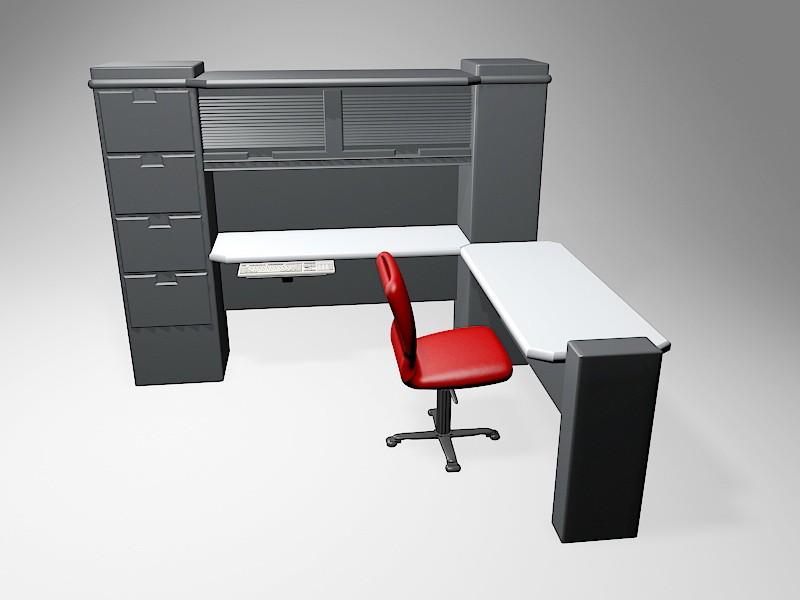 Home Office Computer Desk 3d rendering