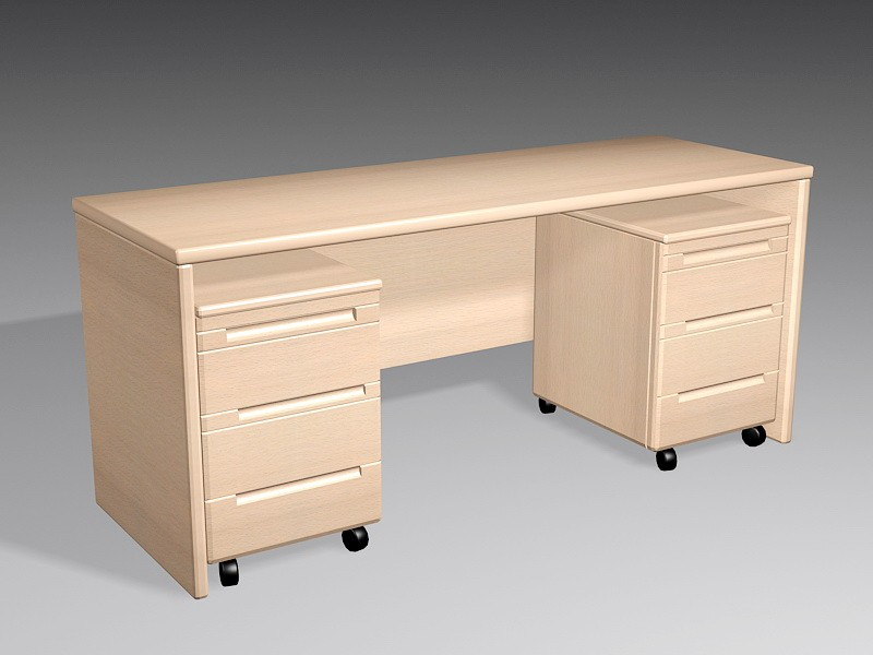 Home Office Desk with Drawers 3d rendering