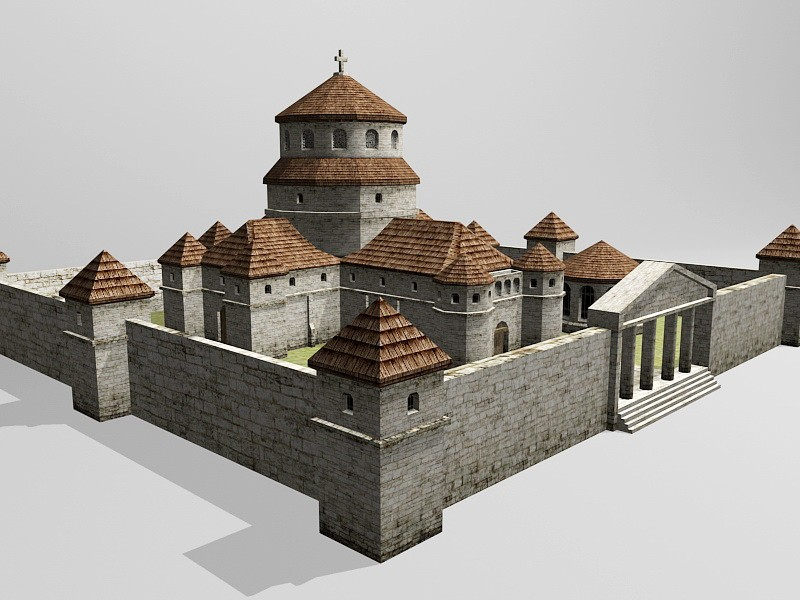 Middle Ages Cathedral 3d rendering