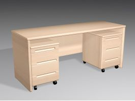 Home Office Desk with Drawers 3d model preview