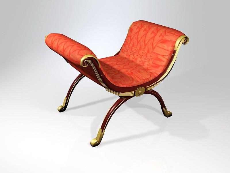 Antique Roman Curule Seat 3d rendering