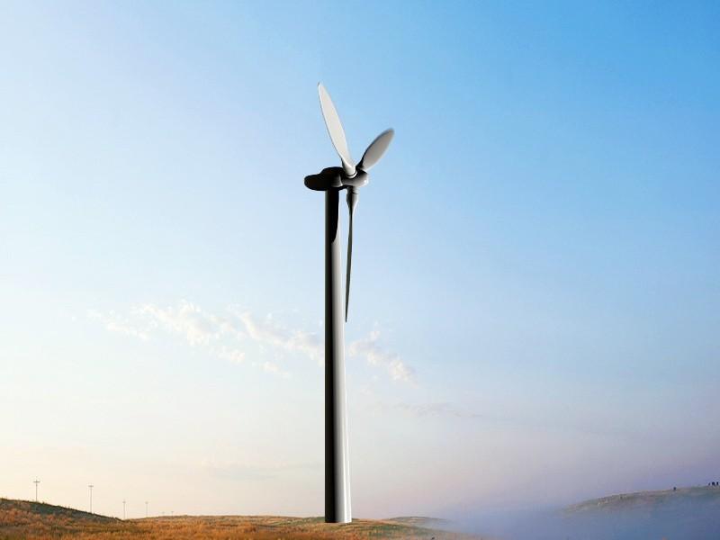 Onshore Horizontal Axis Wind Turbine 3d rendering