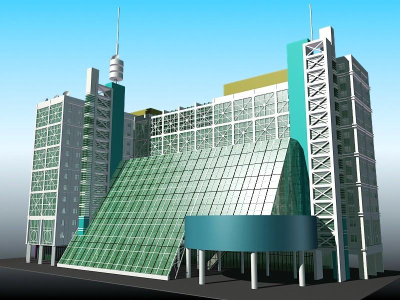 Modern Hotel Exterior Design 3d rendering