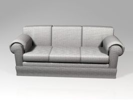 Fabric Three-cushion Couch 3d model preview