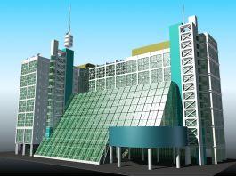 Modern Hotel Exterior Design 3d model preview