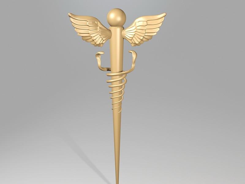 Caduceus Staff of Hermes 3d rendering