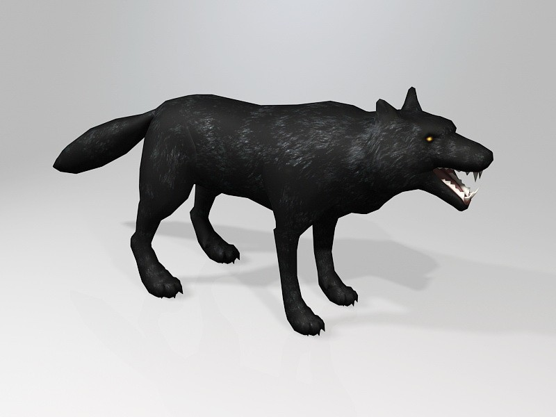 Scary Black Wolf 3d rendering