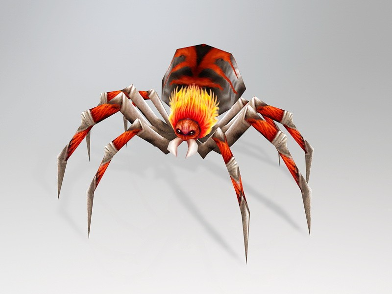 Giant Red Spider 3d rendering