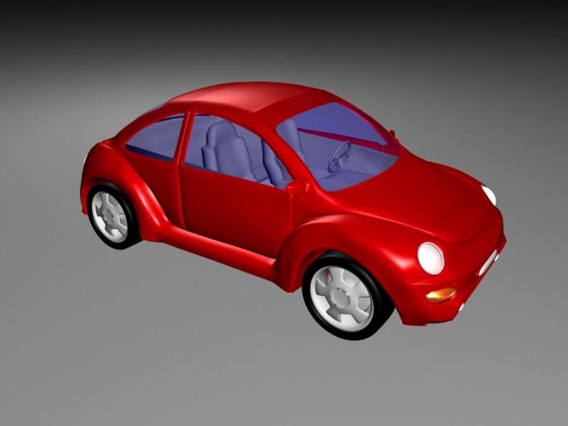 Volkswagen Beetle Red 3d rendering