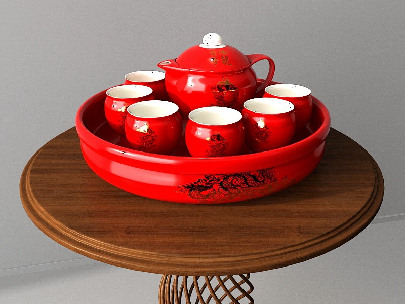 Traditional Chinese Red Porcelain Tea Set 3d rendering