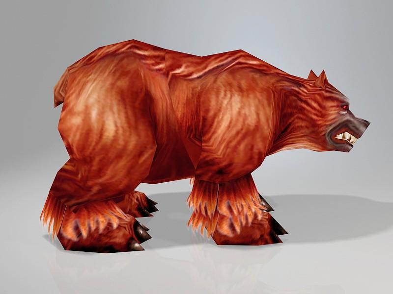 Low Poly Brown Bear 3d rendering