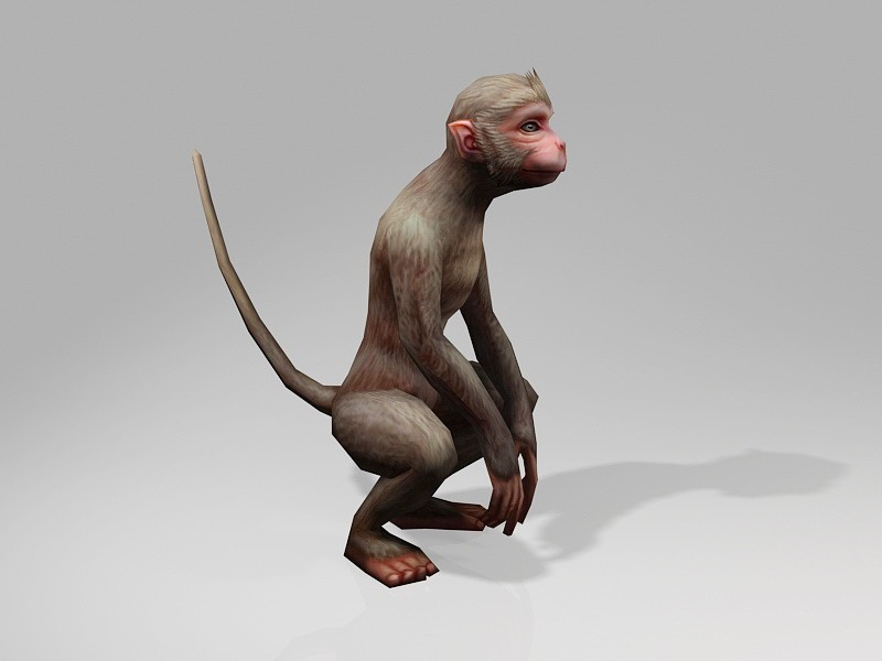 Low Poly Monkey 3d rendering