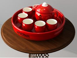 Traditional Chinese Red Porcelain Tea Set 3d preview