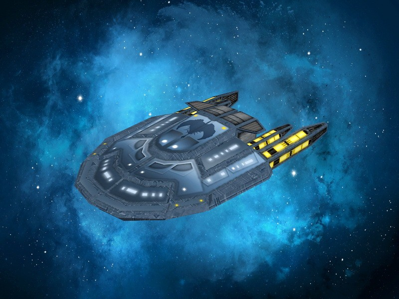 Sci-Fi Spaceship Shuttle 3d rendering