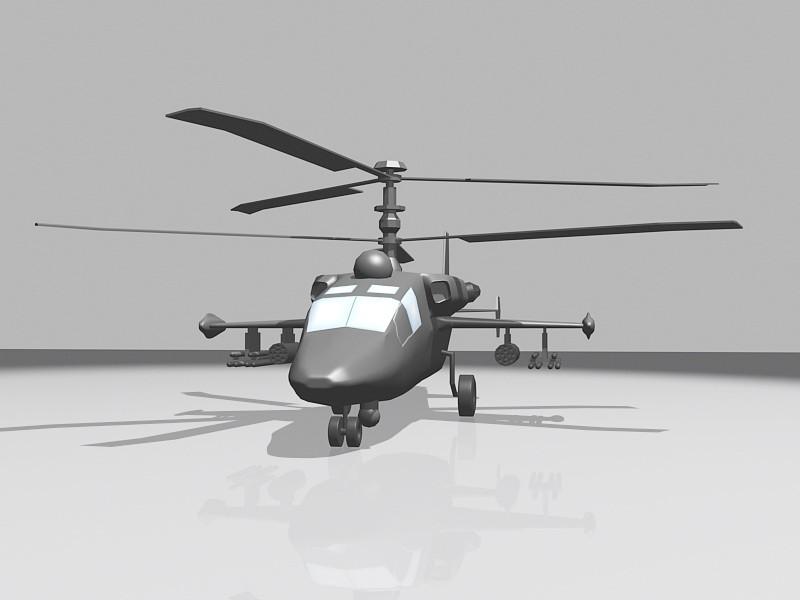 Ka-52 Alligator Attack Helicopter 3d rendering
