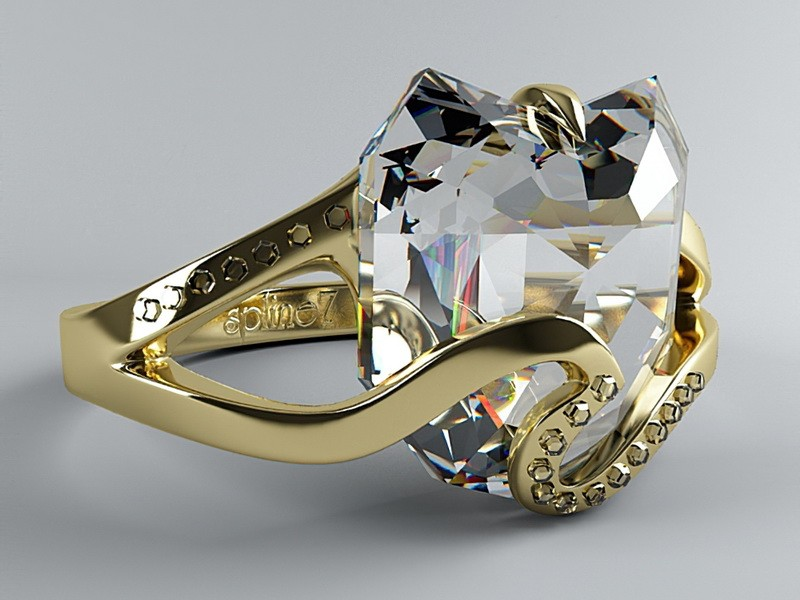Gold Band Diamond Ring 3d rendering