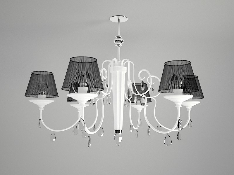 Classic Chandelier with Shades 3d rendering