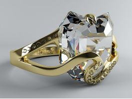 Gold Band Diamond Ring 3d preview