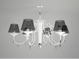 Classic Chandelier with Shades 3d preview