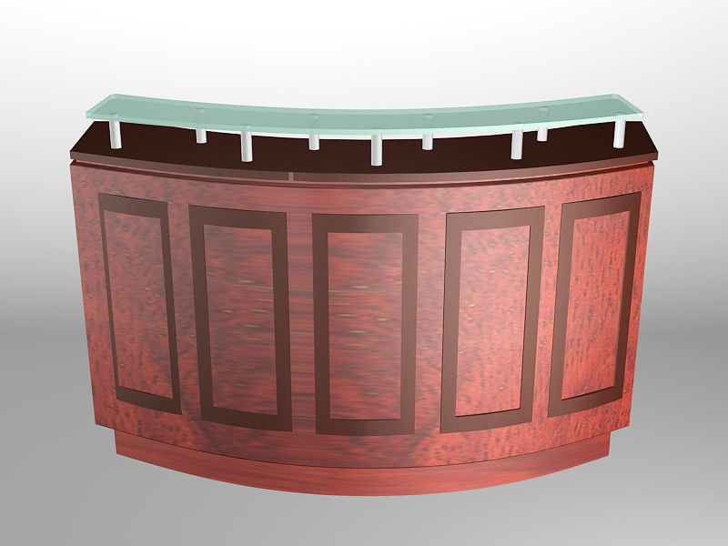 Retro Curved Reception Desk 3d rendering