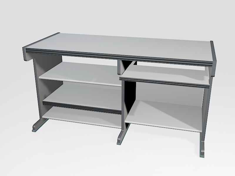 White Computer Desk with Keyboard Tray 3d rendering