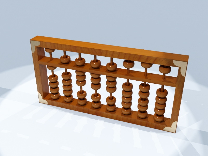 Chinese Wooden Abacus 3d rendering