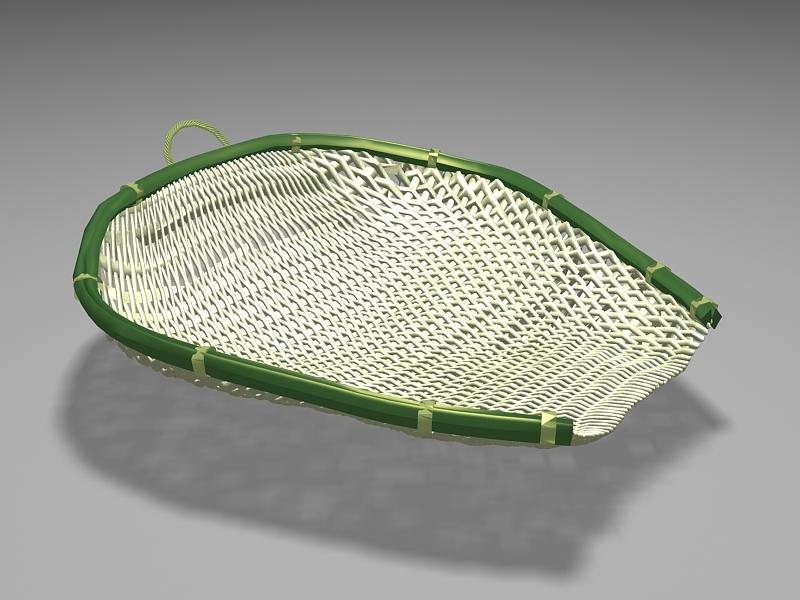 Bamboo Strainer Basket 3d rendering