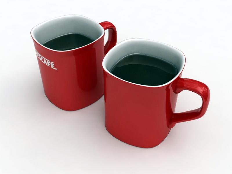 Nescafe Coffee Red Mugs 3d rendering