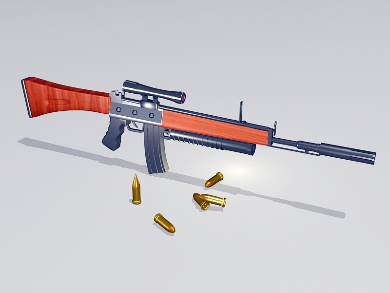 Tactical Rifle and Ammunition 3d rendering