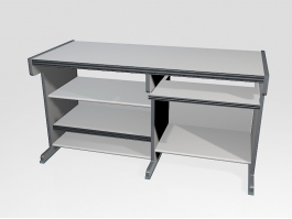 White Computer Desk with Keyboard Tray 3d model preview