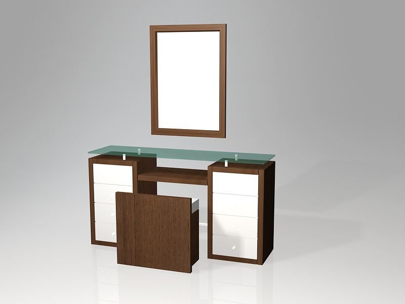 Dressing Table with Mirror and Stool 3d rendering